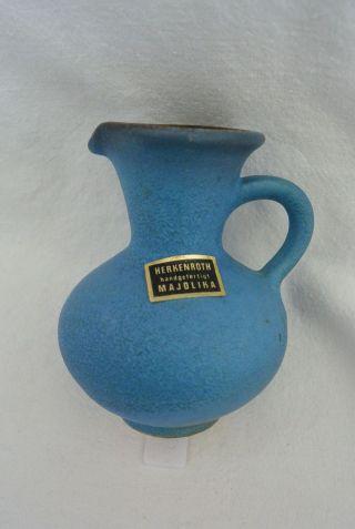 Majolika Herkenroth Kleine Tischvase Krug Handarbeit Blau Gb 1695 Bild