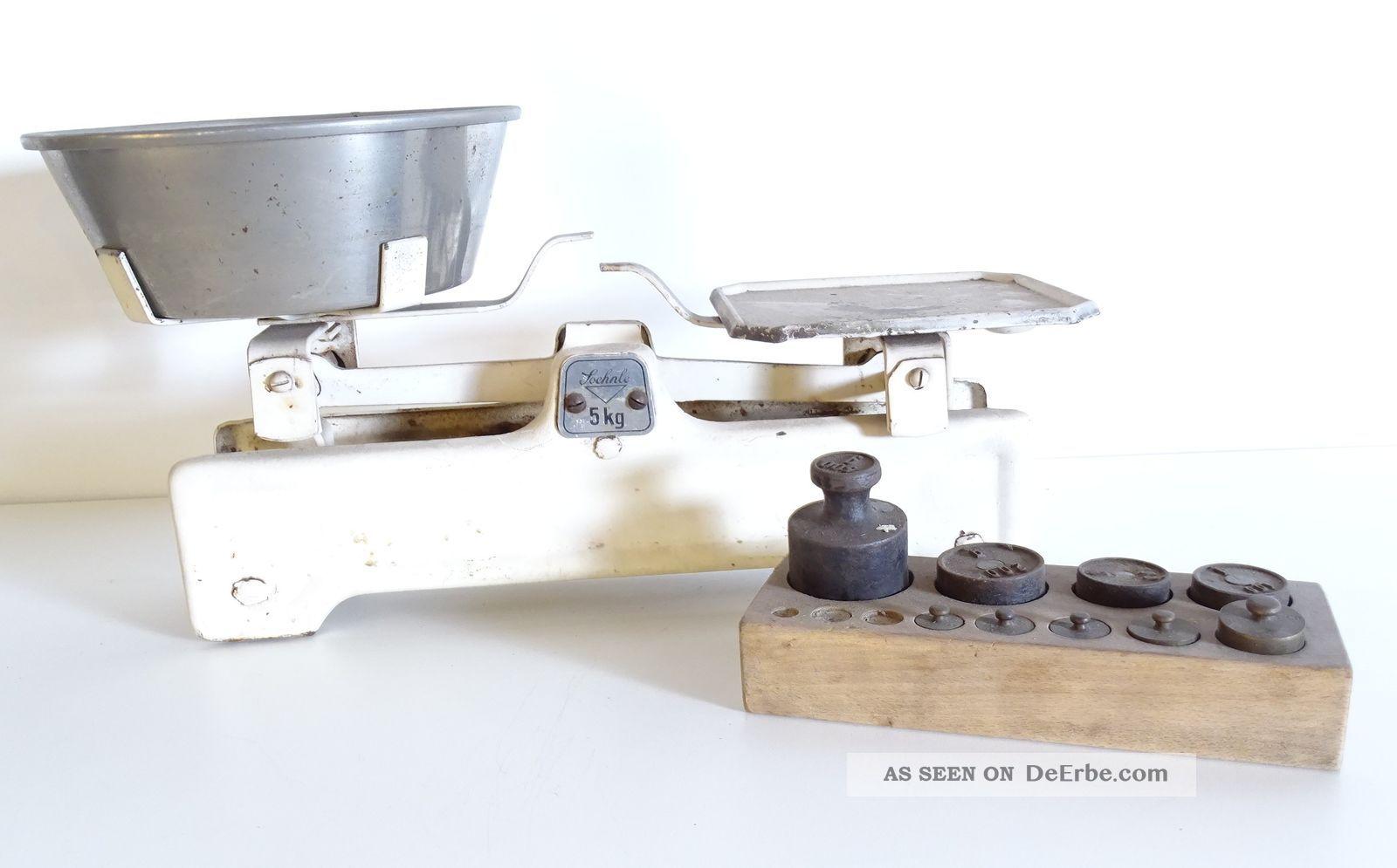 Antike Soehnle 5kg Marktwaage Waage Mit Antikem Gewichtesatz Rarität Kaufleute & Krämer Bild
