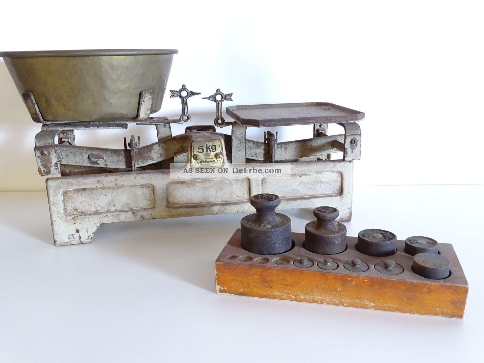 Antike Marktwaage Präzision 5kg Gg Mit Antikem Gewichtesatz Waage Rarität Kaufleute & Krämer Bild