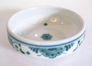 Delft Schüssel Schale Porzellan Mit Blumendekor Blümchen Grün Blau Bild