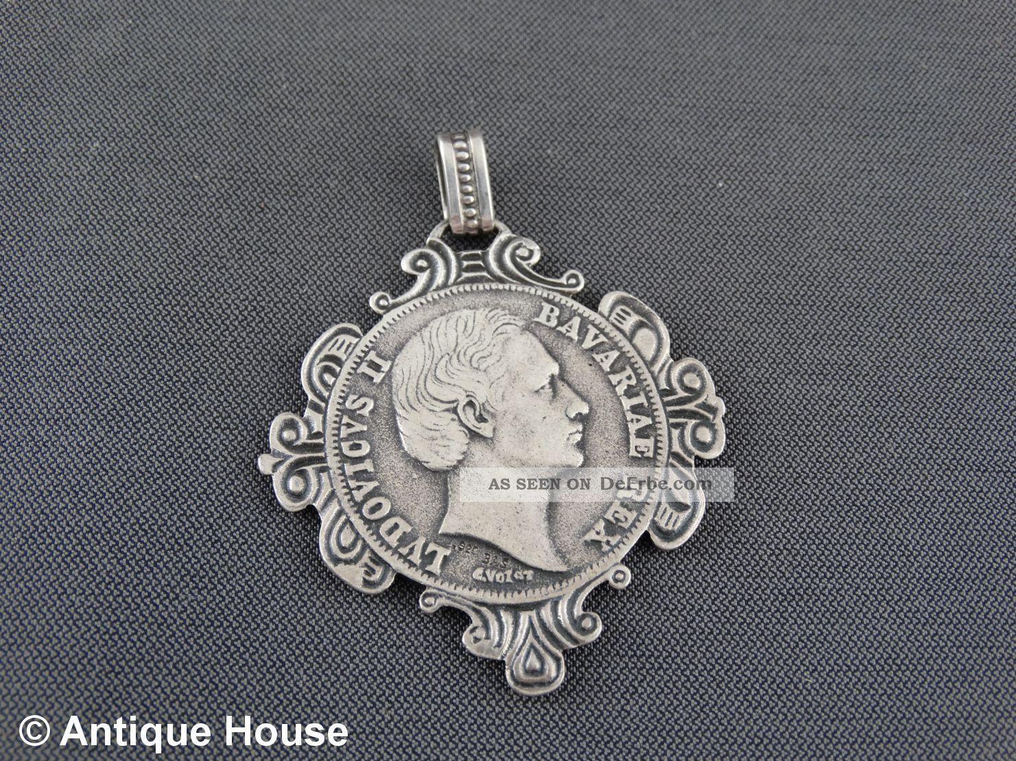 Schmuck Schmuckstück Silber 925 Anhänger Bayrische Medaille Ludwig Ii Schmuck & Accessoires Bild