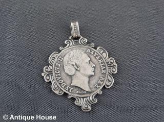 Schmuck Schmuckstück Silber 925 Anhänger Bayrische Medaille Ludwig Ii Bild