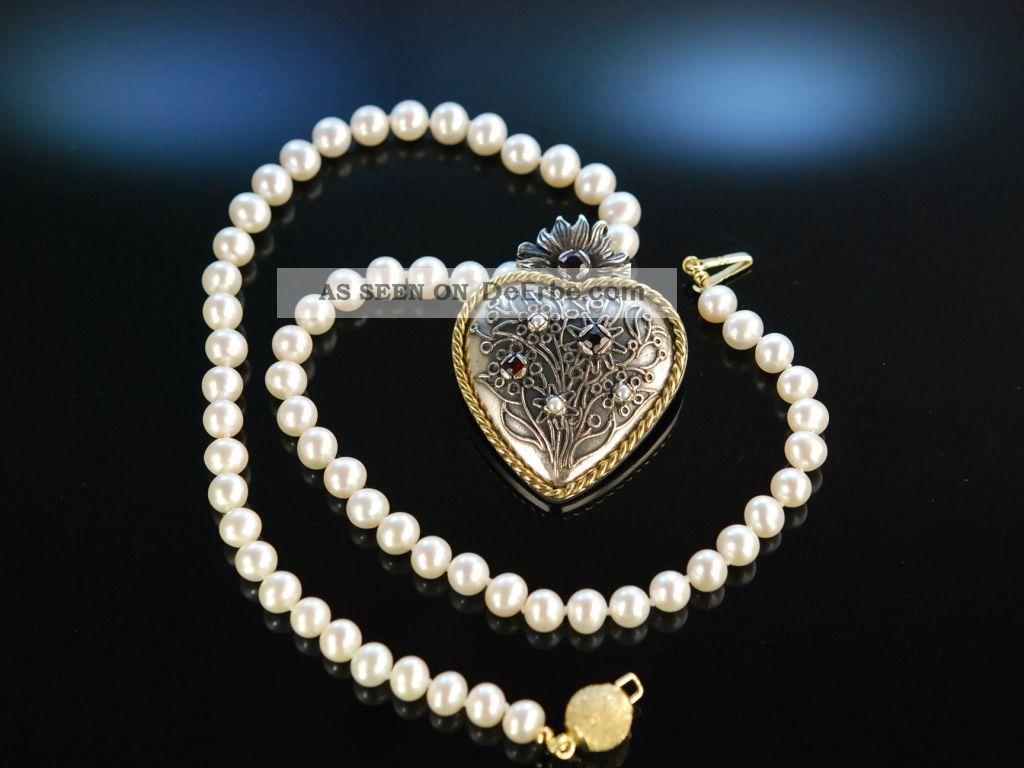 Trachten Collier Zucht Perlen Kette Herz AnhÄnger Brosche Silber 835 Granate Ketten Bild