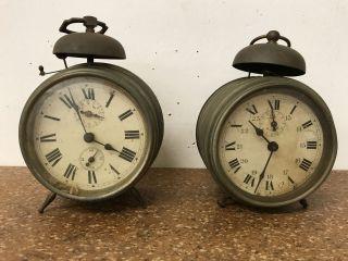 2 Franz.  Antike Wecker Tischuhr Uhr - Pignons Acier Tailles,  Le Vainqueur Fab Bild