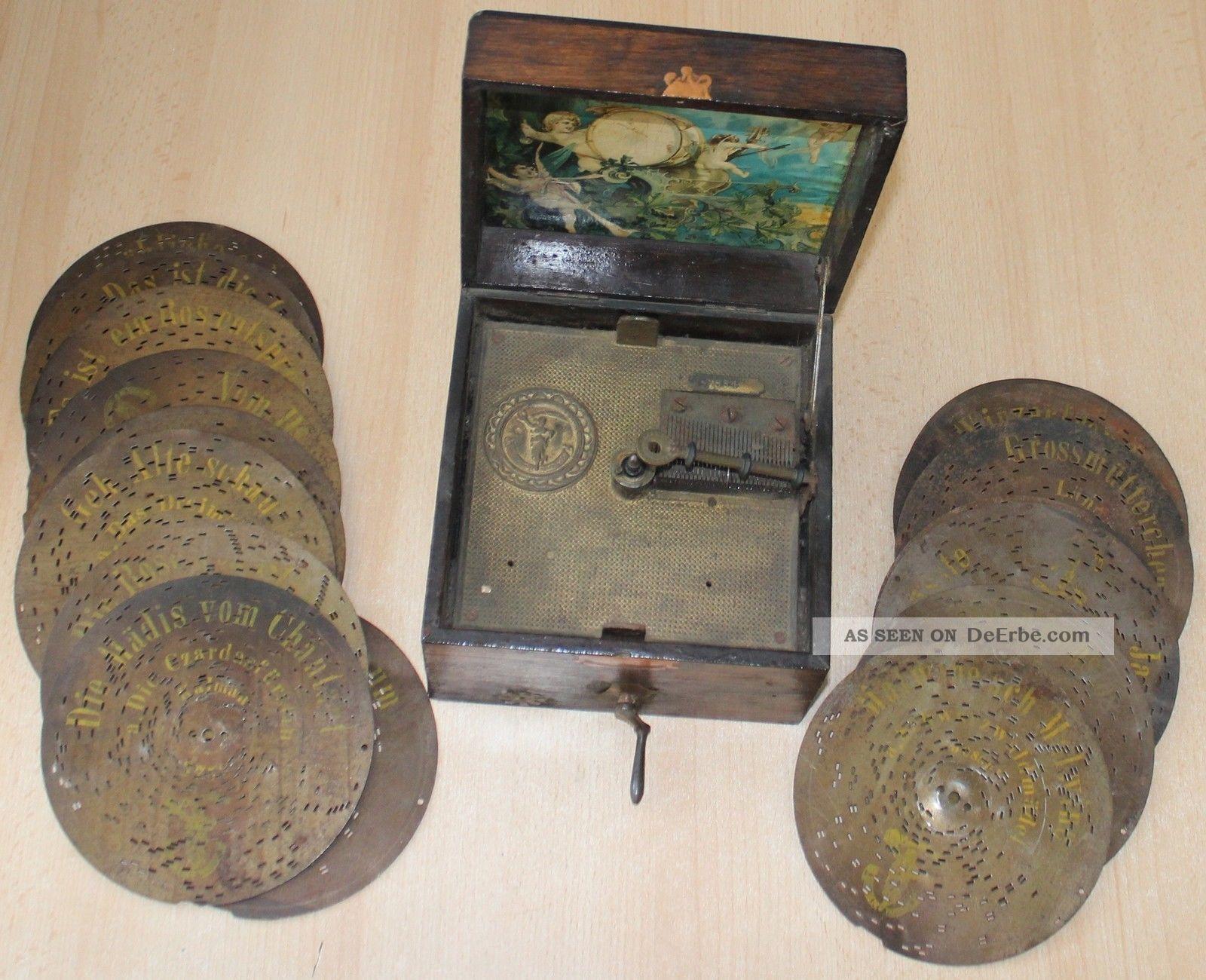 Antike Polyphon Spieluhr,  17 Alte Loch - Blechplatten Lochplatten Mechanische Musik Bild