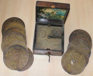 Antike Polyphon Spieluhr,  17 Alte Loch - Blechplatten Lochplatten Bild