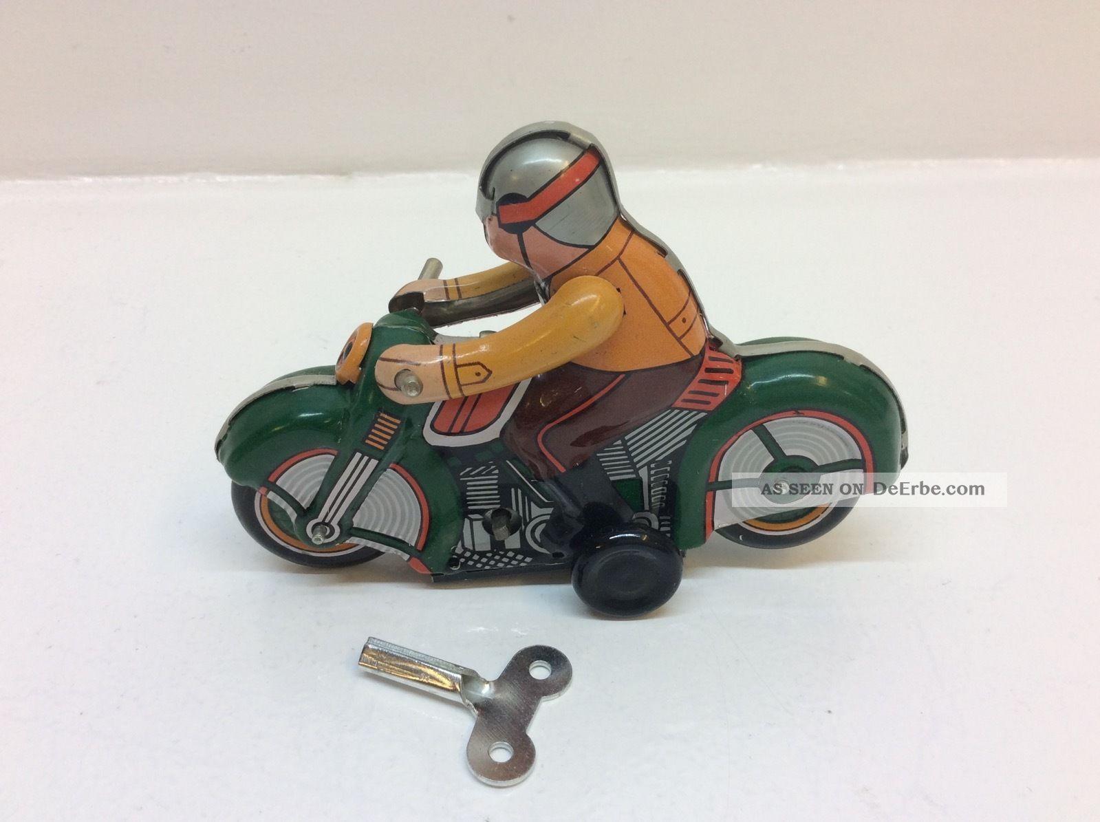 Altes Blechspielzeug Uhrwerk Motorrad Zum Aufziehen Ms275 Gefertigt nach 1970 Bild