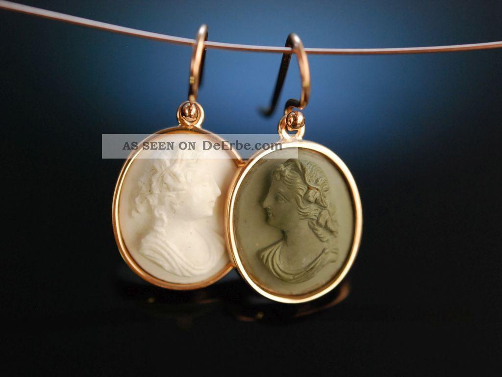 Historische Lava Kamee Ohrringe Silber Vergoldet Neapel Um 1860 Antique Cameos Schmuck & Accessoires Bild