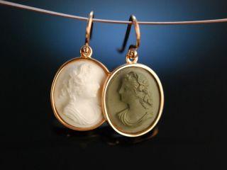 Historische Lava Kamee Ohrringe Silber Vergoldet Neapel Um 1860 Antique Cameos Bild