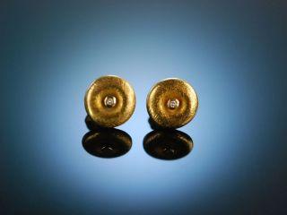 Handarbeit Klassische Ohrringe Earrings Gelb Gold 585 Diamanten Um 1990 Bild