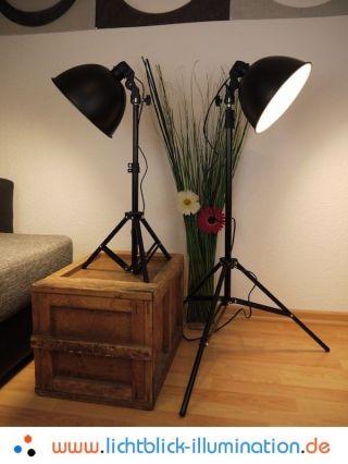 2x Bauhaus Tripod Steh Lampe Dreibein Stativ Art Deco Loft Vintage Studio Leucht Bild