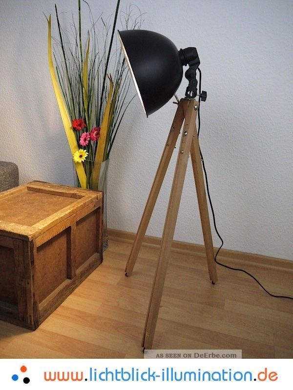 bauhaus tripod steh lampe holz dreibein spot art deco vintage design leuchte. Black Bedroom Furniture Sets. Home Design Ideas