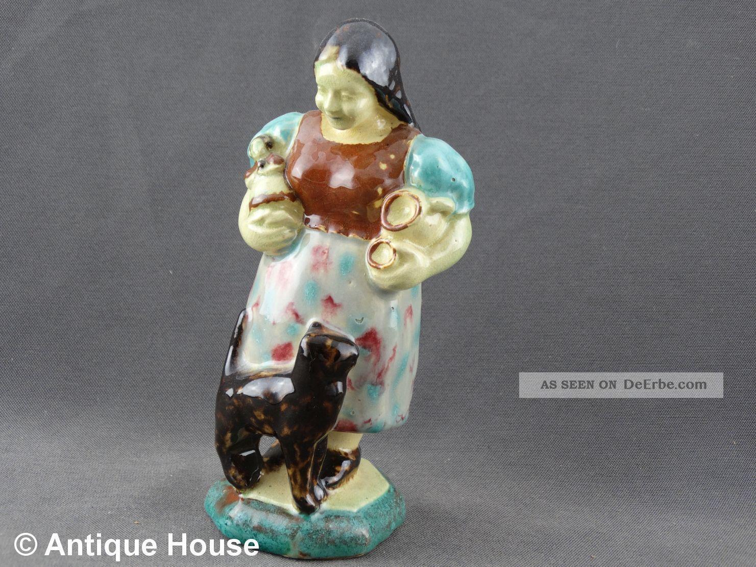 Keramik Figur Kurt Feuerriegel Frohburg Sachsen Mädchen Mit Katze Um 1915 Nach Stil & Epoche Bild