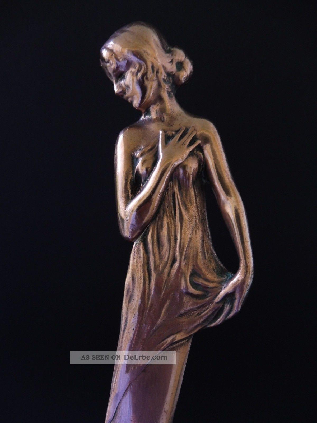:: Jugendstil Bronze BriefÖffner MÄdchen Art Nouveau Maiden Letter Opener 7d Wmf 1890-1919, Jugendstil Bild
