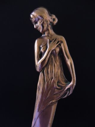 :: Jugendstil Bronze BriefÖffner MÄdchen Art Nouveau Maiden Letter Opener 7d Wmf Bild