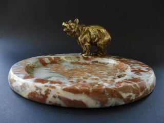 :: Wiener Jugendstil Bronze BÄr Bear Grizzly Tray Art Nouveau Marmor Jardiniere Bild