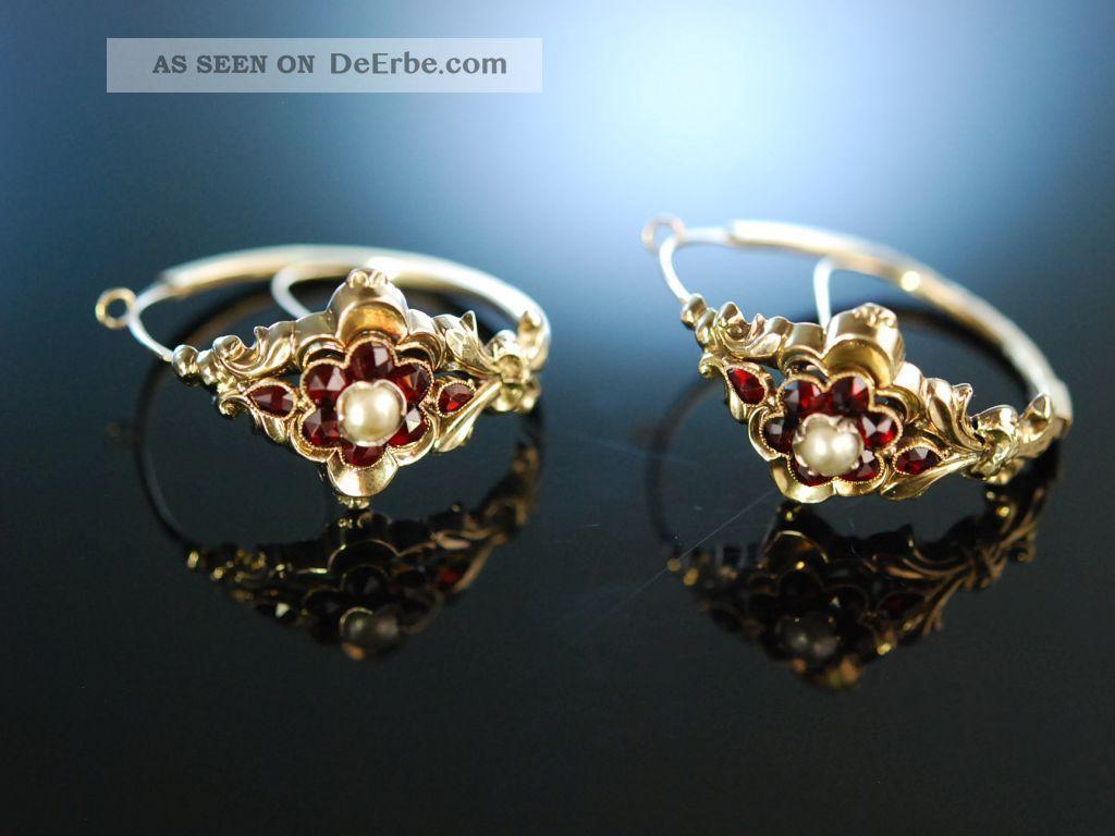 MÜnchner Biedermeier Historische Ohrringe Schaumgold 585 Granate Simili Perlen Schmuck nach Epochen Bild
