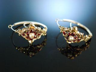 MÜnchner Biedermeier Historische Ohrringe Schaumgold 585 Granate Simili Perlen Bild
