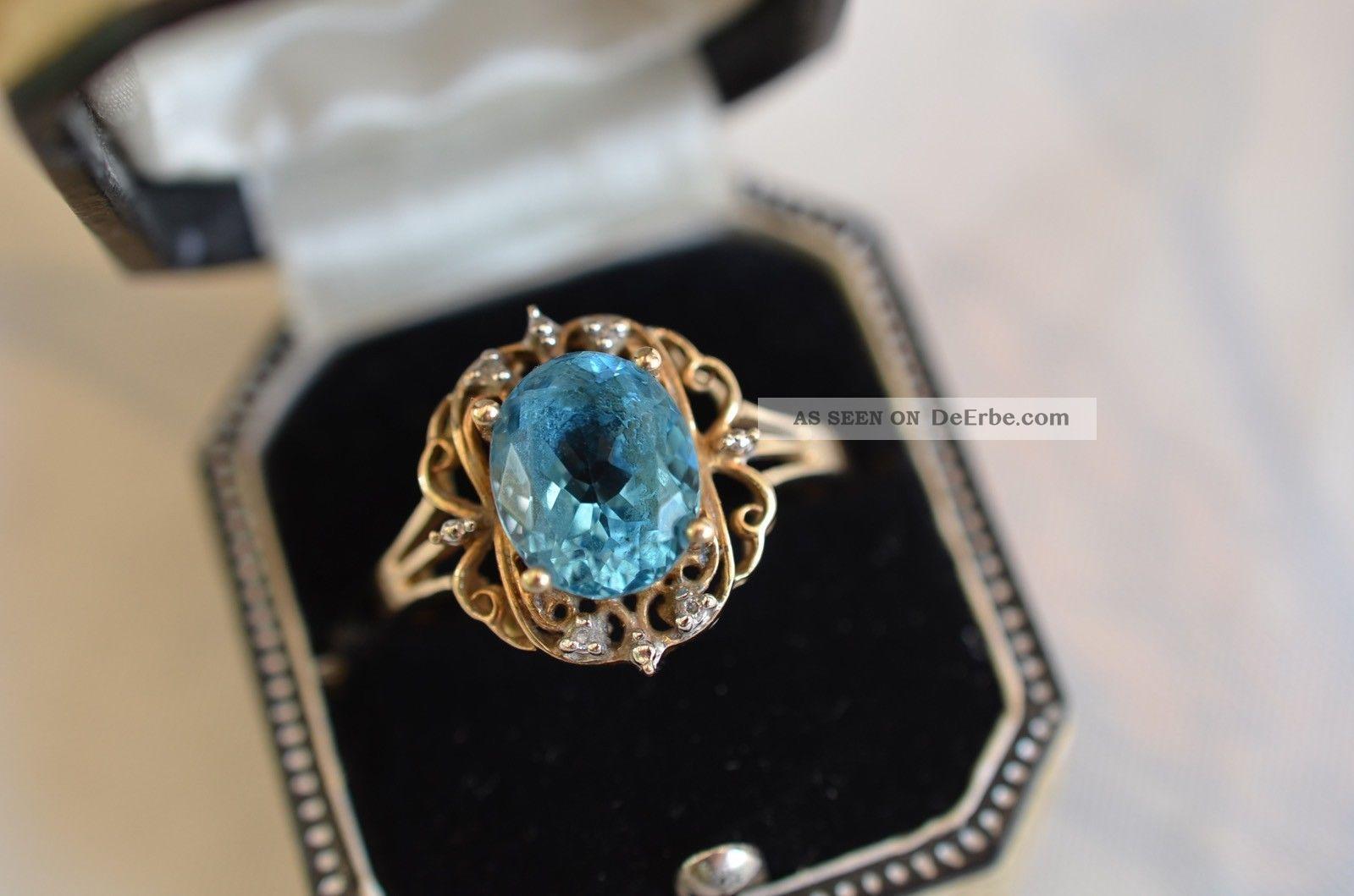 Schöner Alter Damenring Mit Stein Und Kleinen Diamanten Gold 375 Ringe Bild