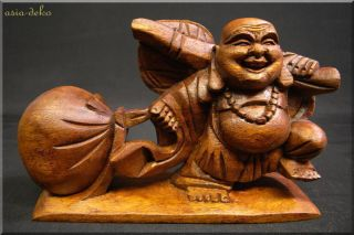 Toller Glücksbuddha Budda Unikat Happy Buddha Mönch Glücksbringer Holzfigur Bild