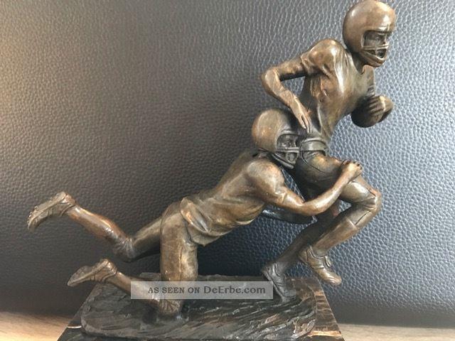 Bronzefigur Vintage American Football Pokal Marmor - Sockel Signiert Milo Bronze Bild