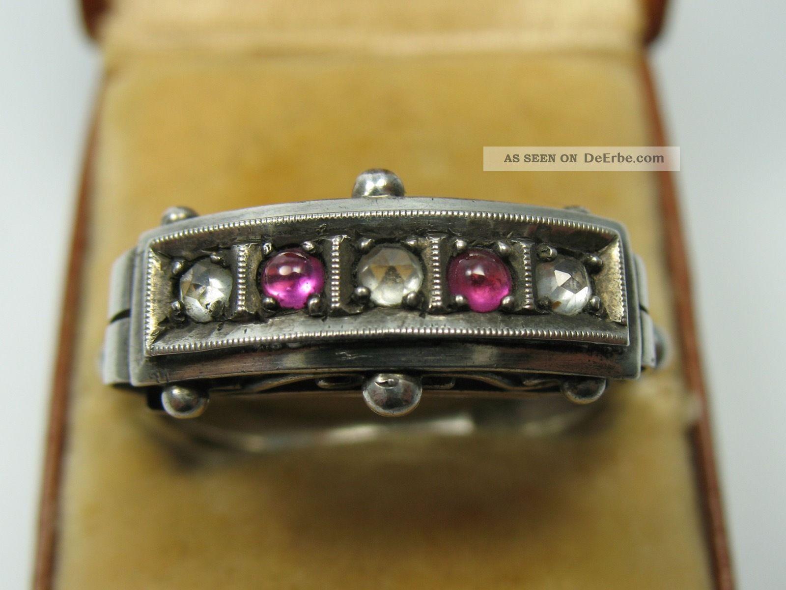 Sehr Schöner Alter Ring Aus 935 Silber Mit Weißen Und Rubinfarbenen Steinen Ringe Bild