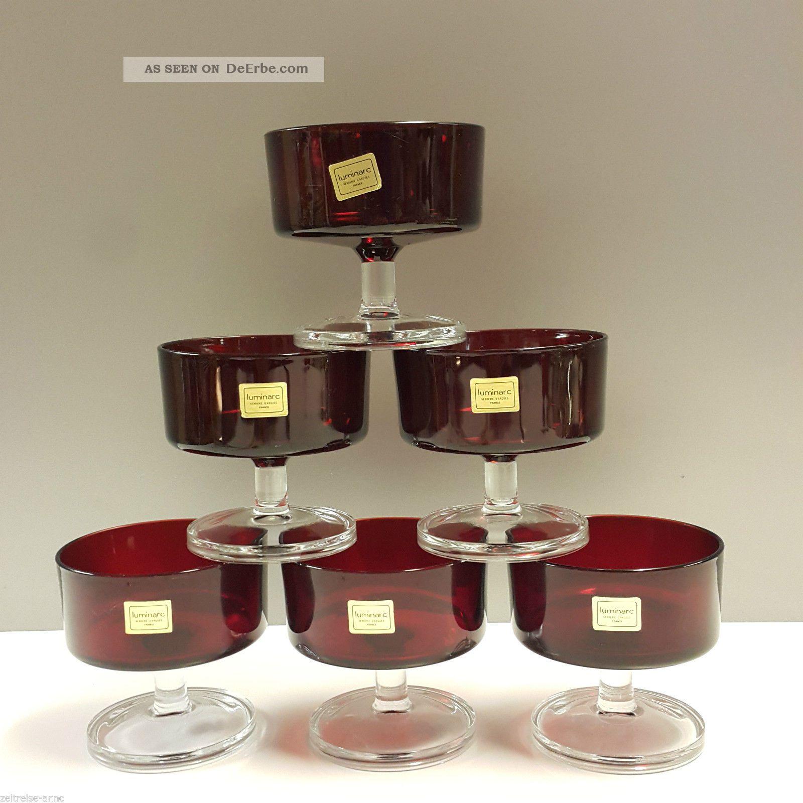 Sektgläser Sektschalen 6x Luminarc Cavalier Rot 70er Kult Design Klassiker Kristall Bild